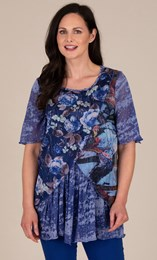 Floral Printed Layered Chiffon and Jersey Top
