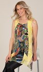 Sleeveless Dipped Hem Panelled Top Yellow - Gallery Image 1