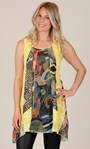 Sleeveless Dipped Hem Panelled Top Yellow - Gallery Image 2