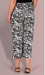 Floral Printed Wide Leg Cropped Trousers Black/White - Gallery Image 3