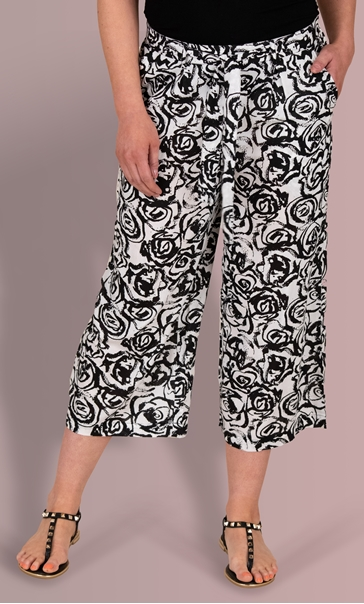 Floral Printed Wide Leg Cropped Trousers