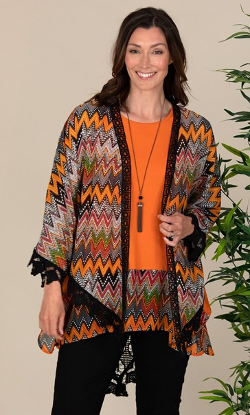 Crochet Trim Printed Cover Up