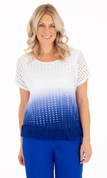 Ombre Textured Short Sleeve Jersey Top - Blue/White