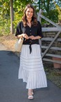 Panelled Striped Pull On Maxi Skirt White/Black - Gallery Image 1