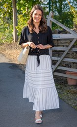Panelled Striped Pull On Maxi Skirt