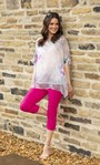 Cropped Stretch Trousers Magenta - Gallery Image 1