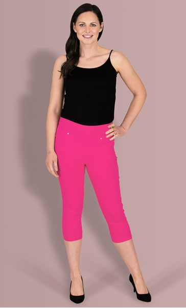 Cropped Stretch Trousers - Magenta