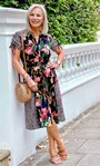 Floral And Animal Printed Midi Shirt Dress Black/Sunflower/Red - Gallery Image 1