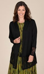 Lace And Jersey Long Sleeve Cardigan