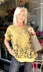 Sequin Trimmed Cotton Blend Oversized Printed Top Yellow - Gallery Image 1