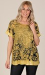 Sequin Trimmed Cotton Blend Oversized Printed Top Yellow - Gallery Image 2