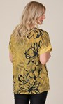 Sequin Trimmed Cotton Blend Oversized Printed Top Yellow - Gallery Image 3