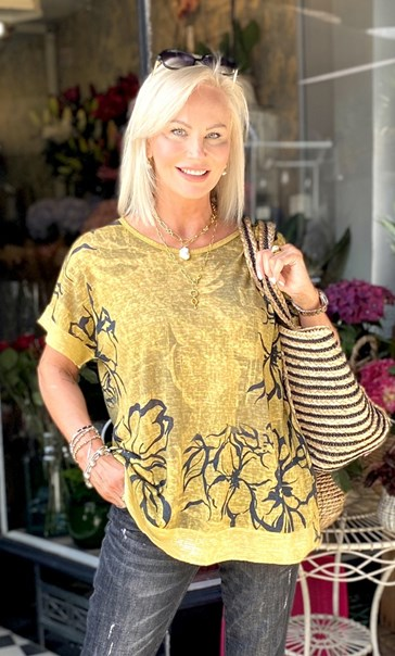 Sequin Trimmed Cotton Blend Oversized Printed Top Yellow