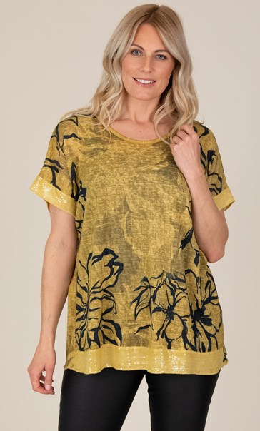 Sequin Trimmed Cotton Blend Oversized Printed Top