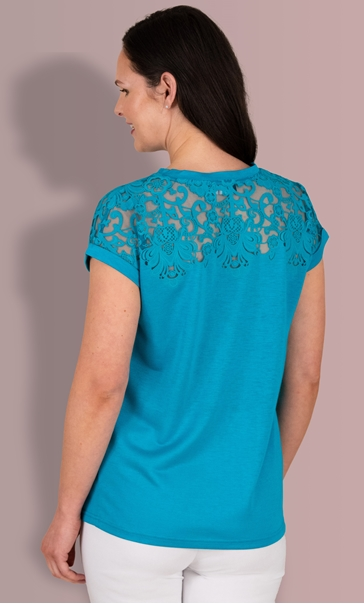 Short Sleeve Burn Out Jersey Top - Pacific Blue