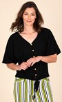 Textured Short Sleeve Tie Front Blouse Black - Gallery Image 2