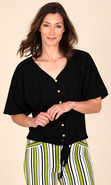 Textured Short Sleeve Tie Front Blouse