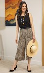 Cropped Animal Print Pleated Wide Leg Trousers Brown/Black - Gallery Image 1