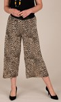 Cropped Animal Print Pleated Wide Leg Trousers Brown/Black - Gallery Image 5