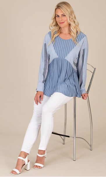 Panelled Striped Long Sleeve Top