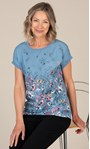 Anna Rose Textured Floral Top Blue/Pink/Multi - Gallery Image 1