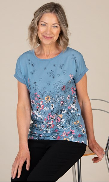 Anna Rose Textured Floral Top Blue/Pink/Multi