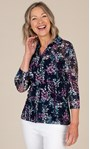 Anna Rose Printed Lace Blouse Navy/Pink Multi - Gallery Image 2