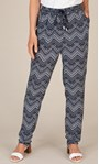 Anna Rose Pull On Printed Tapered Trousers Navy/White - Gallery Image 4