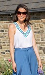 Embroidered V neck Sleeveless Top White - Gallery Image 1