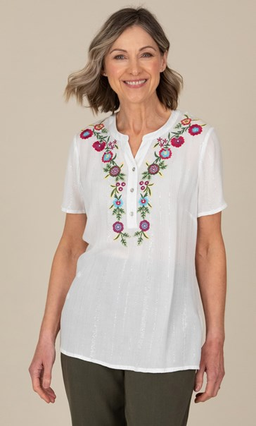 Anna Rose Embroidered Short Sleeve Top White
