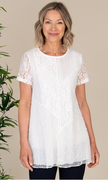Anna Rose Mesh And Lace Patchwork Tunic White