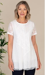 Anna Rose Mesh And Lace Patchwork Tunic