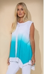 Ombre Layered Sleeveless Top Pacific Blue/White - Gallery Image 2