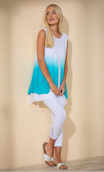 Ombre Layered Sleeveless Top Pacific Blue/White