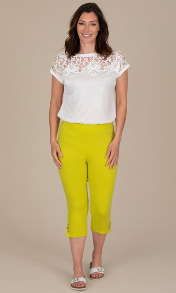 Cropped Pull On Stretch Trousers Lime/Grapefruit