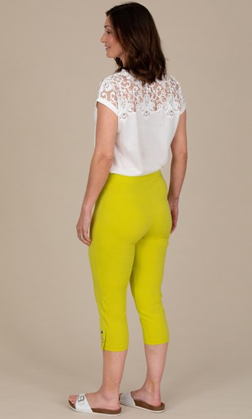 Cropped Pull On Stretch Trousers - Lime/Grapefruit