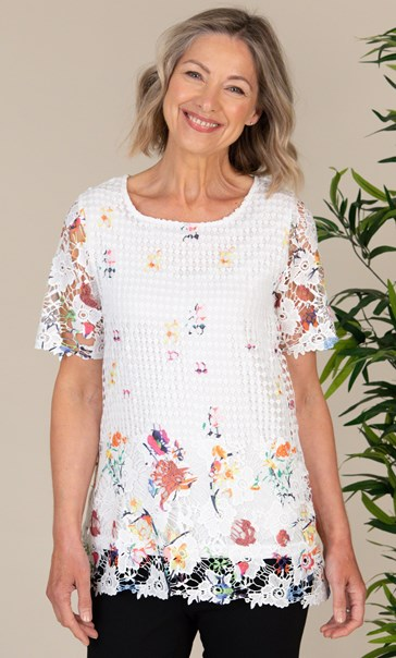 Anna Rose Printed Short Sleeve Lace Top