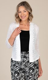 Anna Rose Lace Trim Knitted  Open Cover Up