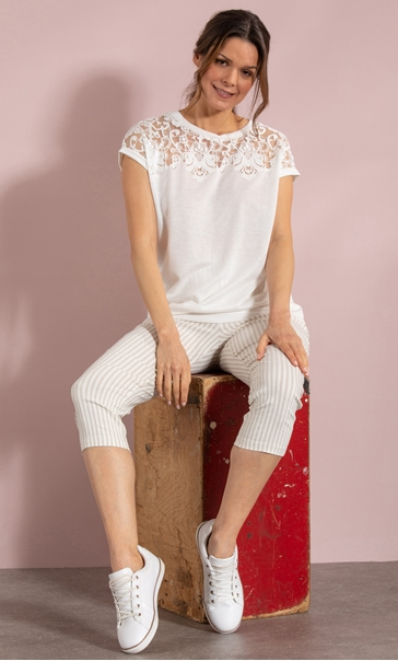 Short Sleeve Burn Out Jersey Top - White