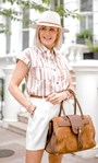 Striped Short Sleeve Cotton Blouse Pink/Brown - Gallery Image 1