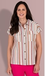 Striped Short Sleeve Cotton Blouse Pink/Brown - Gallery Image 2