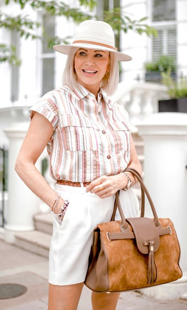 Striped Short Sleeve Cotton Blouse Pink/Brown