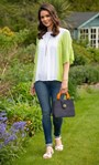 Dip Dye Cold Shoulder Top Lime/White - Gallery Image 1