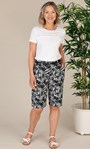 Anna Rose Linen Blend Printed Belted Shorts White/Black - Gallery Image 1