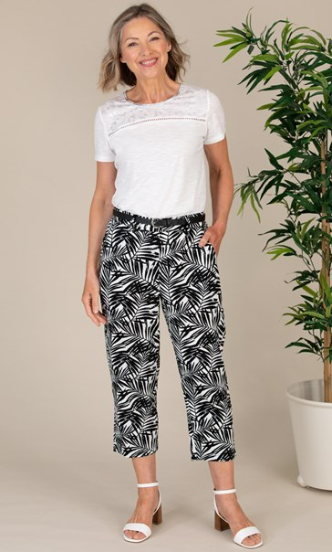 Anna Rose Linen Blend Printed Belted Cropped Trousers White/Black