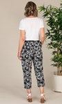 Anna Rose Linen Blend Printed Belted Cropped Trousers White/Black - Gallery Image 2