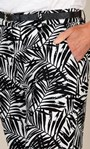 Anna Rose Linen Blend Printed Belted Cropped Trousers White/Black - Gallery Image 3