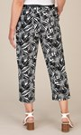 Anna Rose Linen Blend Printed Belted Cropped Trousers White/Black - Gallery Image 4