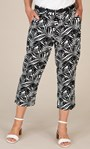 Anna Rose Linen Blend Printed Belted Cropped Trousers White/Black - Gallery Image 5