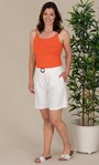 Linen Blend Belted Shorts White - Gallery Image 1